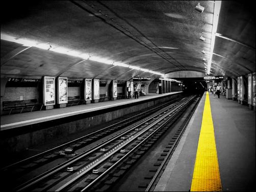 urban_subway_train_stations_monochrome_selective_coloring
